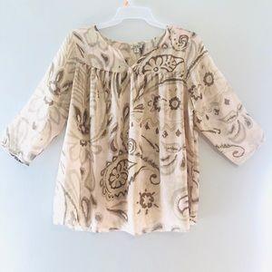 Lucky brand semi sheer multi design blouse